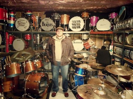 a drummer friend 39 s awesome ludwig room great drum collection drums rock music drums. Black Bedroom Furniture Sets. Home Design Ideas
