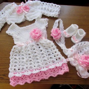 Crochet baby set, baby dress, bolero, hat, shoes and headband , baby ...