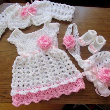 Free Baby Crochet Pattern Dress And Bolero : Crochet baby set, baby dress, bolero, hat, shoes and ...