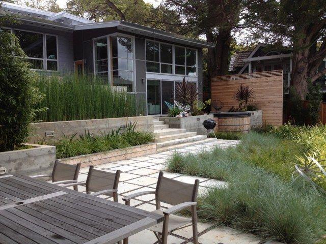 Terrassen Sichtschutz Mit Pflanzen Neugierige Blicke Fernhalten Moderner Garten Moderne Landschaftsgestaltung Und Minimalistischer Garten