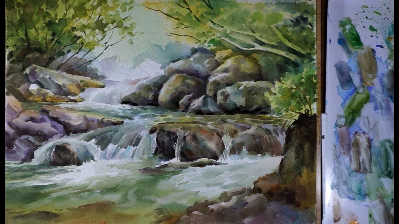 Watercolor Landscape Painting A Water Stream Youtube