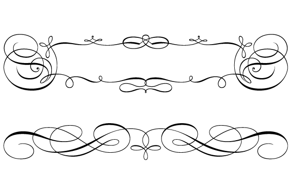Calligraphic Swirly Scroll Frame And Border Vector Vector Art Design Clip Art Borders Vector Free