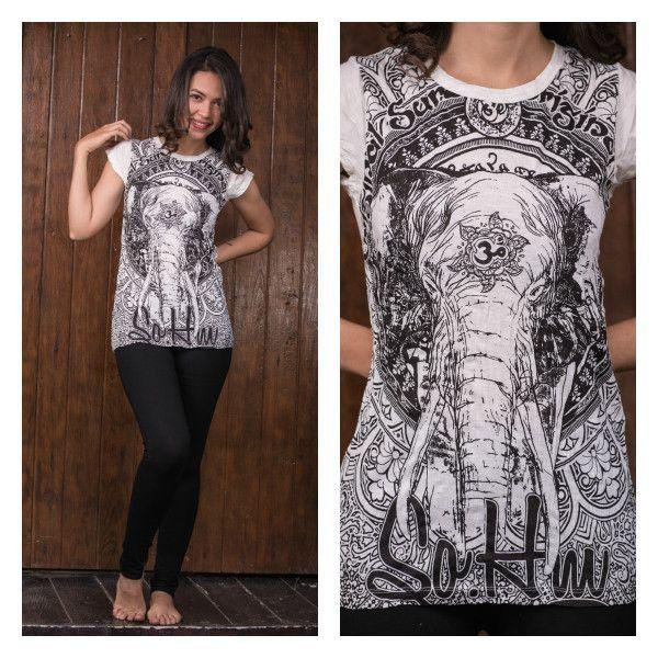 Slogan T-Shirts – Bohemein Womens Wild Elephant T-Shirt White – a unique product…