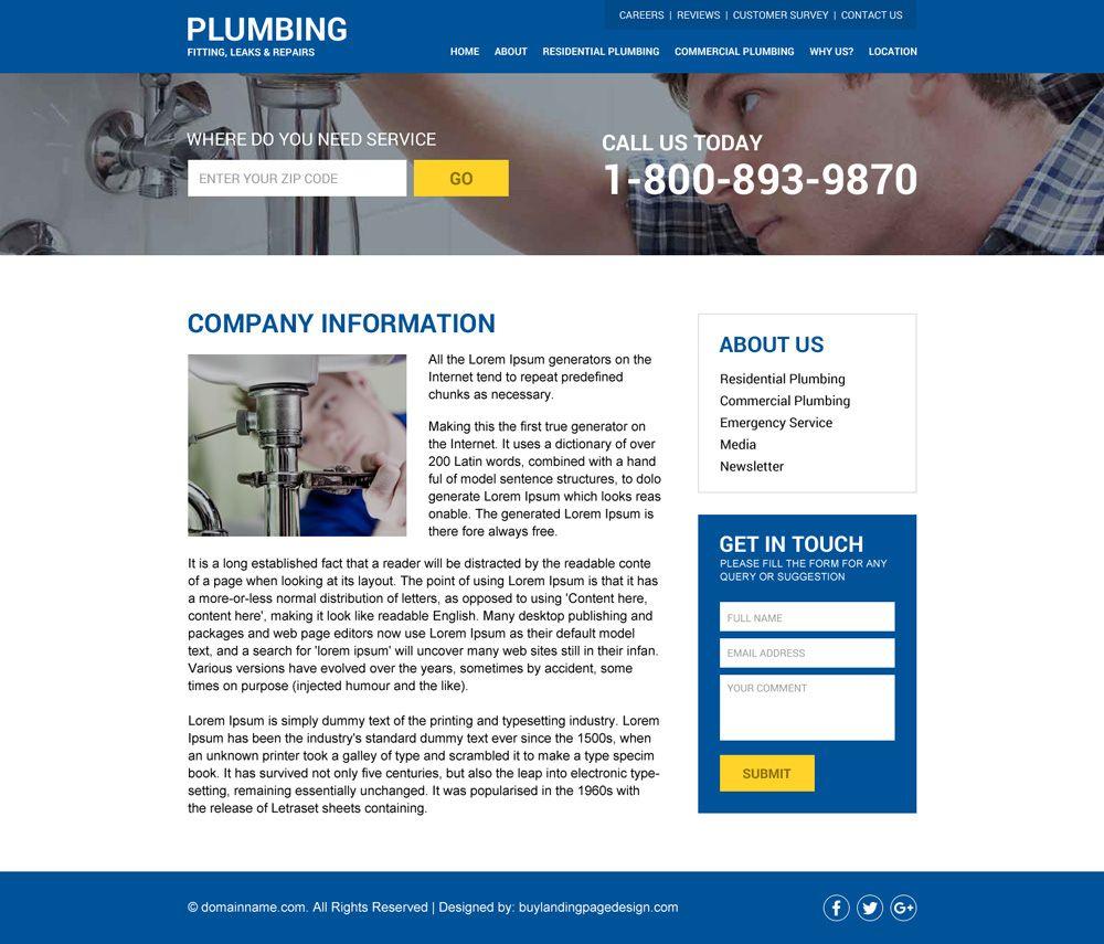 Responsive Plumbing Website Design Added To Buylandingpagedesign Buylandingpagedesign Com Website Design Website Template Design Web Design