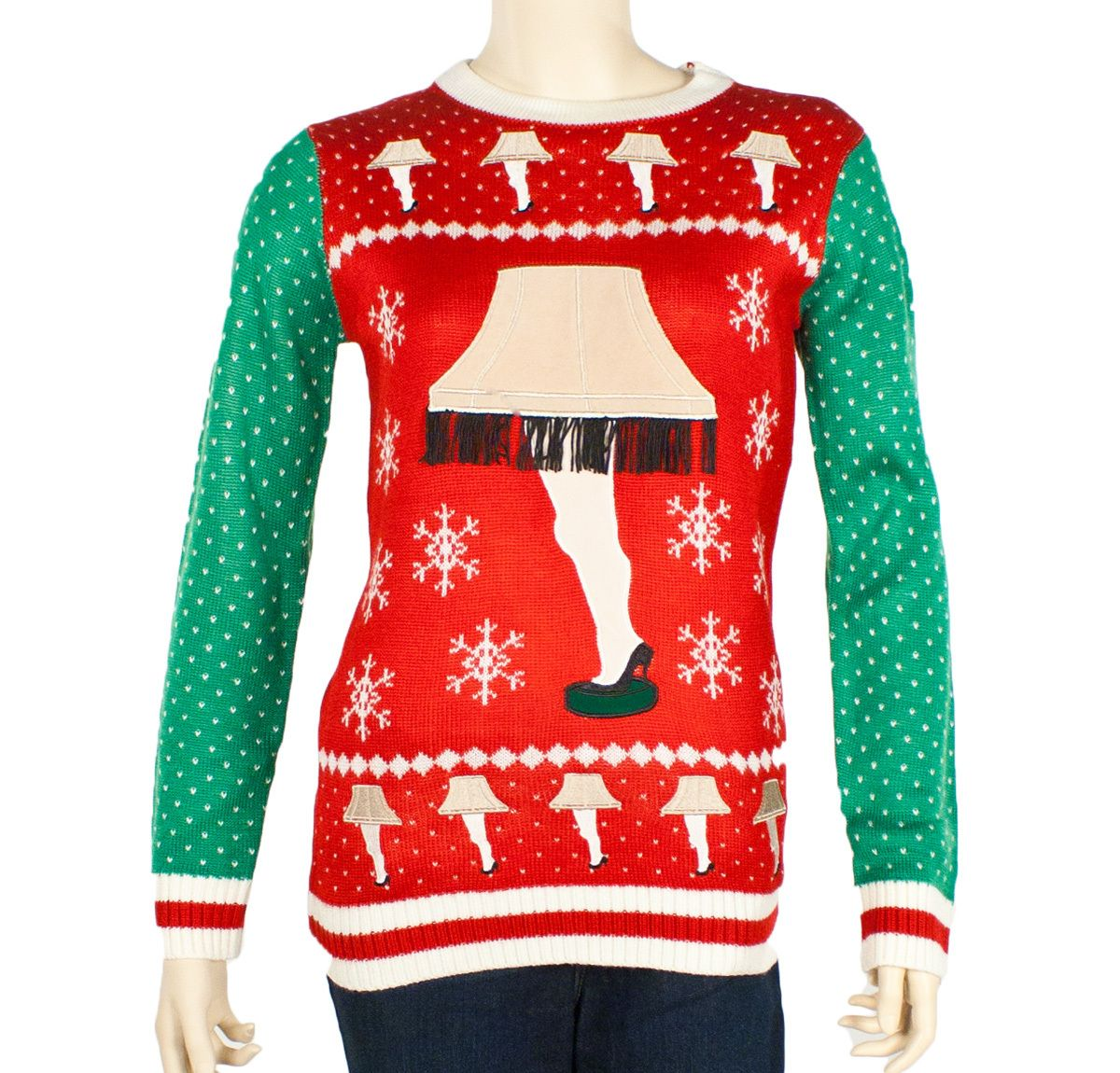 Womenu0027s Leg Lamp Major Award Ugly Sweater In Red/Green | Red Green And Legs