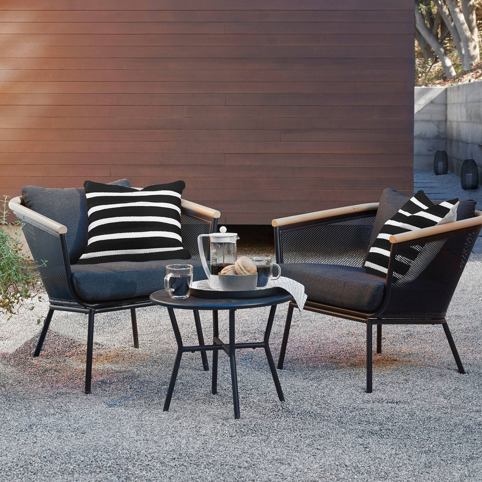 Fabulous Black + White Outdoor Finds at Target - 3-Piece Chat Set