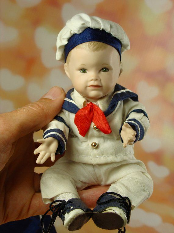 Little Sailor Doll Small Porcelain Boy Doll Picture Perfect Babies