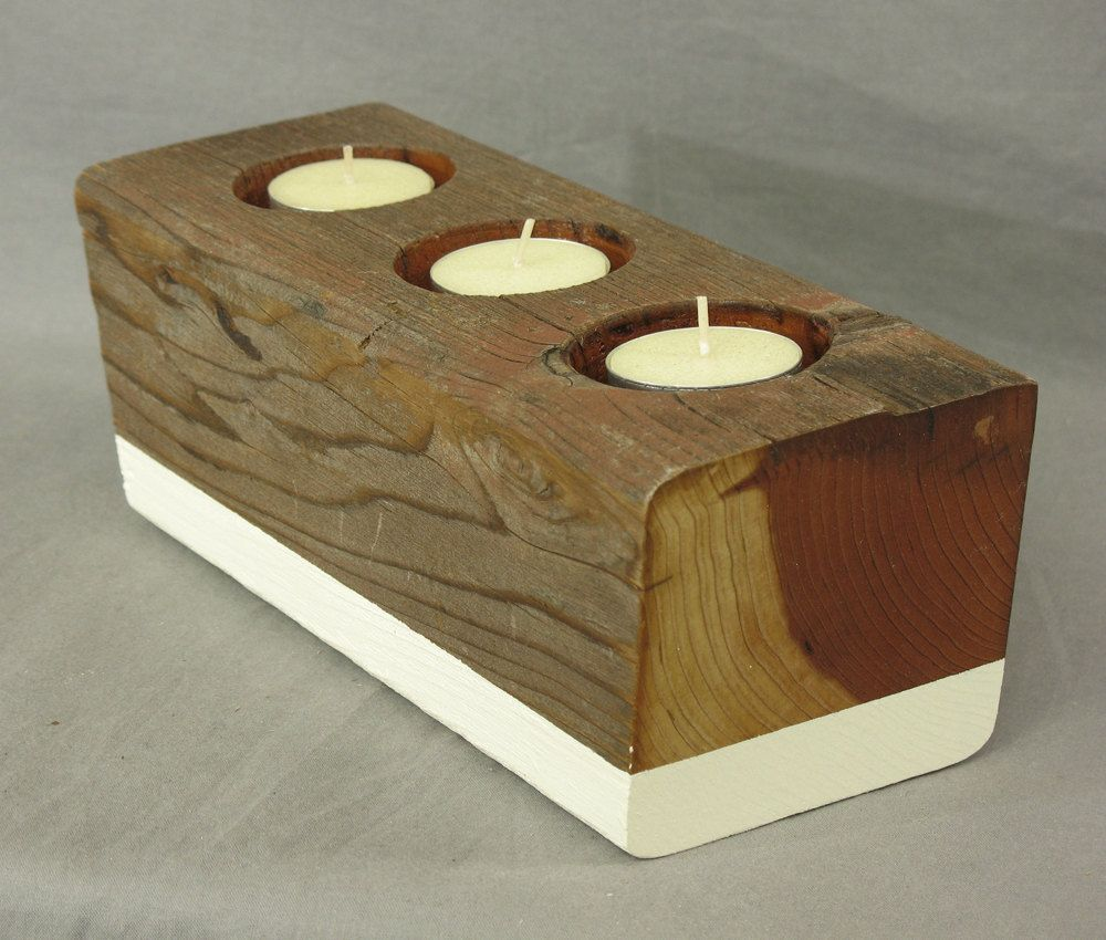 Reclaimed wood candle holder for votive candles or tea lights. Modern  rustic candelabra centerpiece, mantle and fireplace decor - Reclaimed Wood Candle Holder For Votive Candles Or Tea Lights