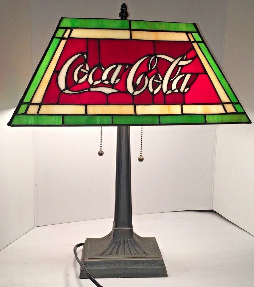 Tiffany Style Desk Table Lamp Coca Cola Metal Base Double Pull Chain Lights 21