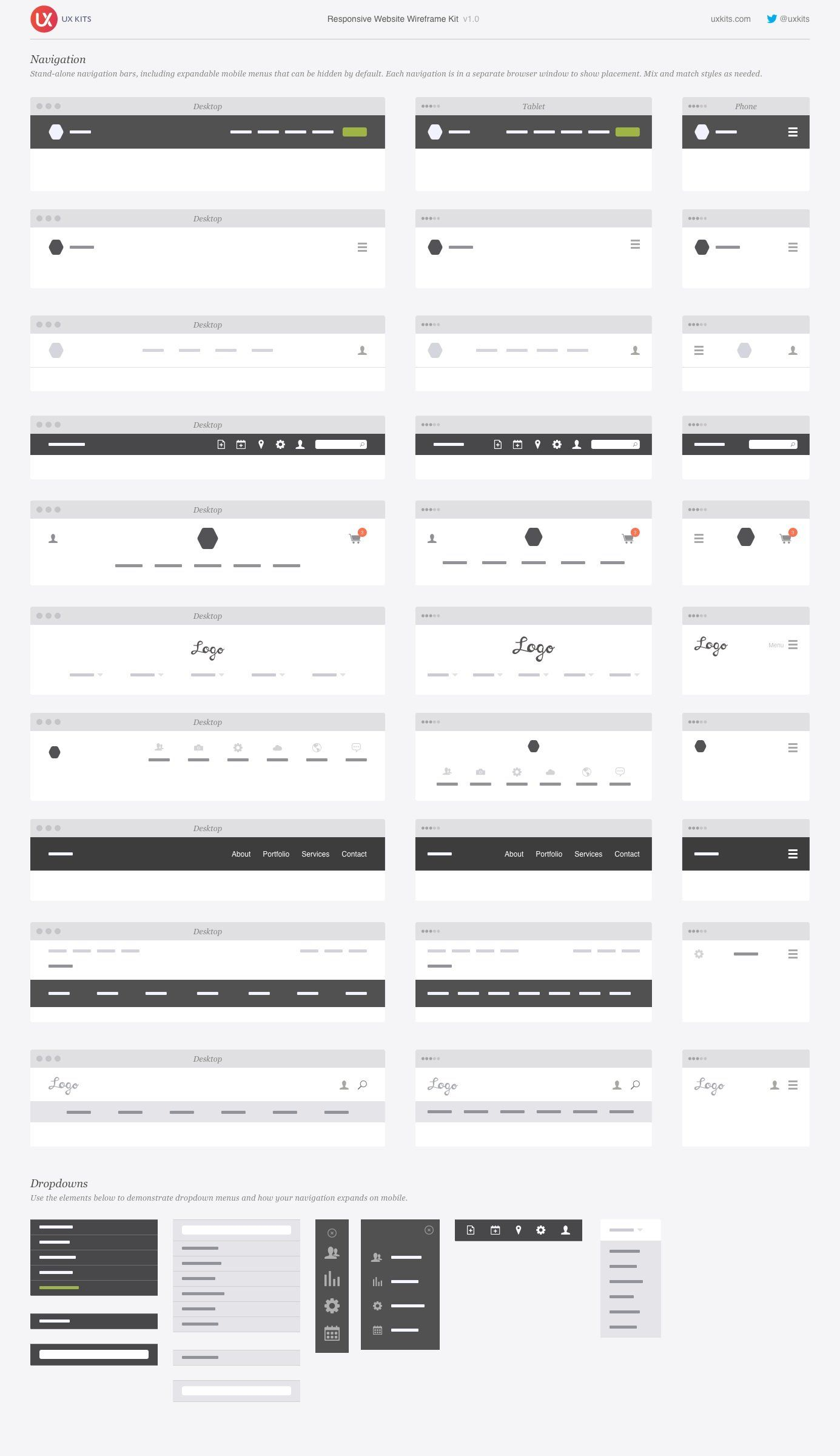 Responsive Website Wireframe Kit Wireframe Design Footer Design