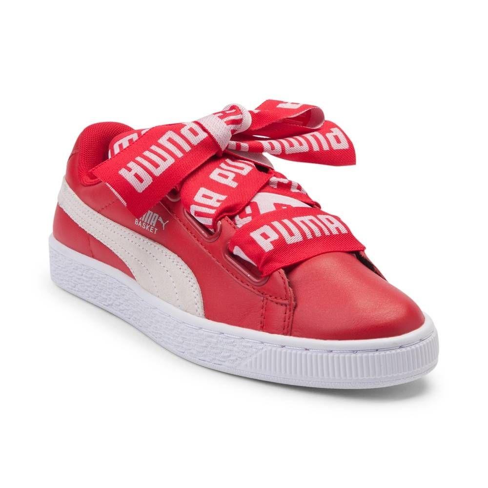 info for 4ed6c a5305 Womens Puma Basket Heart DE Athletic Shoe - Red/White ...