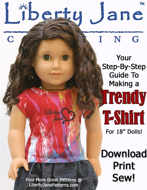 Liberty Jane trendy tee doll clothes pattern | Doll Patterns ...