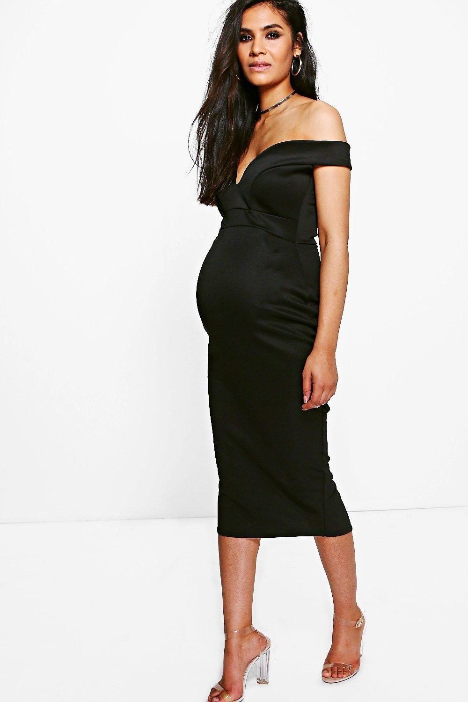 92601a5552 Maternity Maria Sweetheart Off The Shoulder Midi Dress