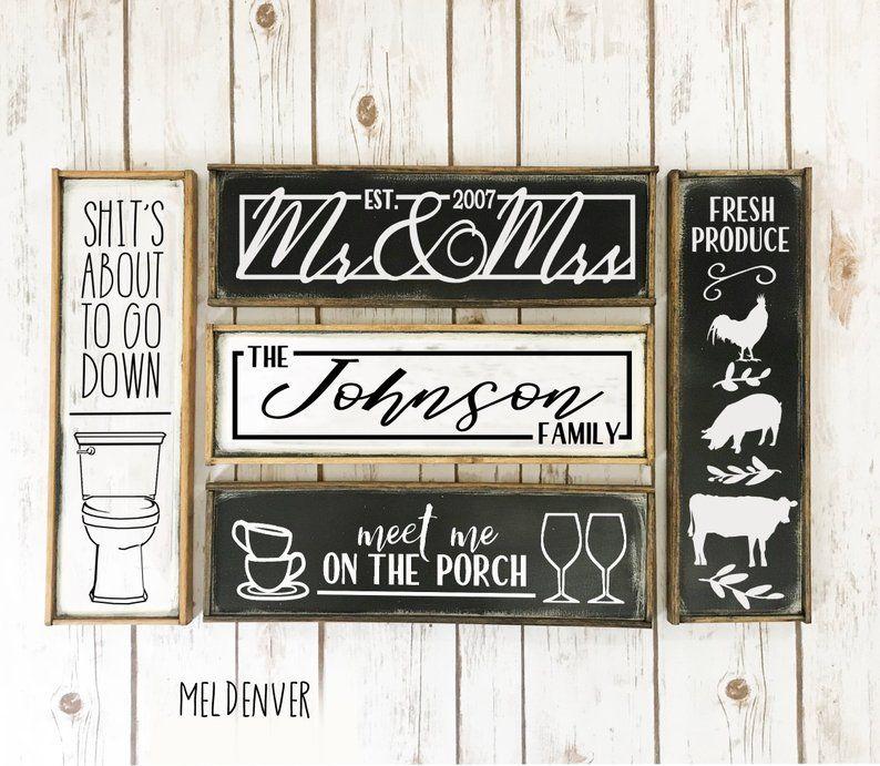 rustic long narrow farmhouse signs, you choose, kitchen