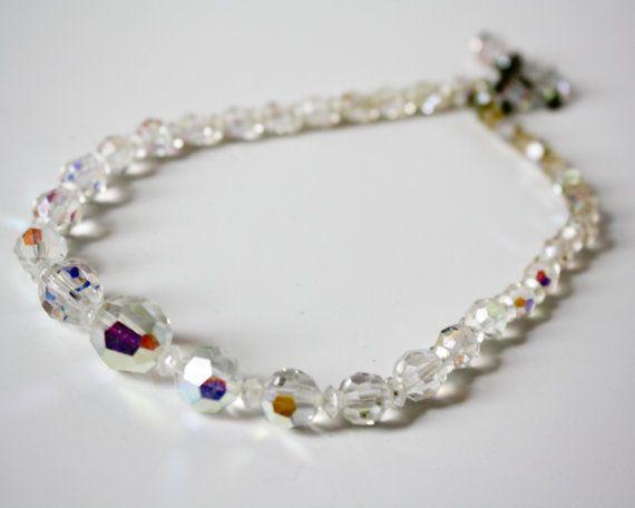 Vintage Aurora Borealis AB Crystal Bead Choker by TempleKatVintage