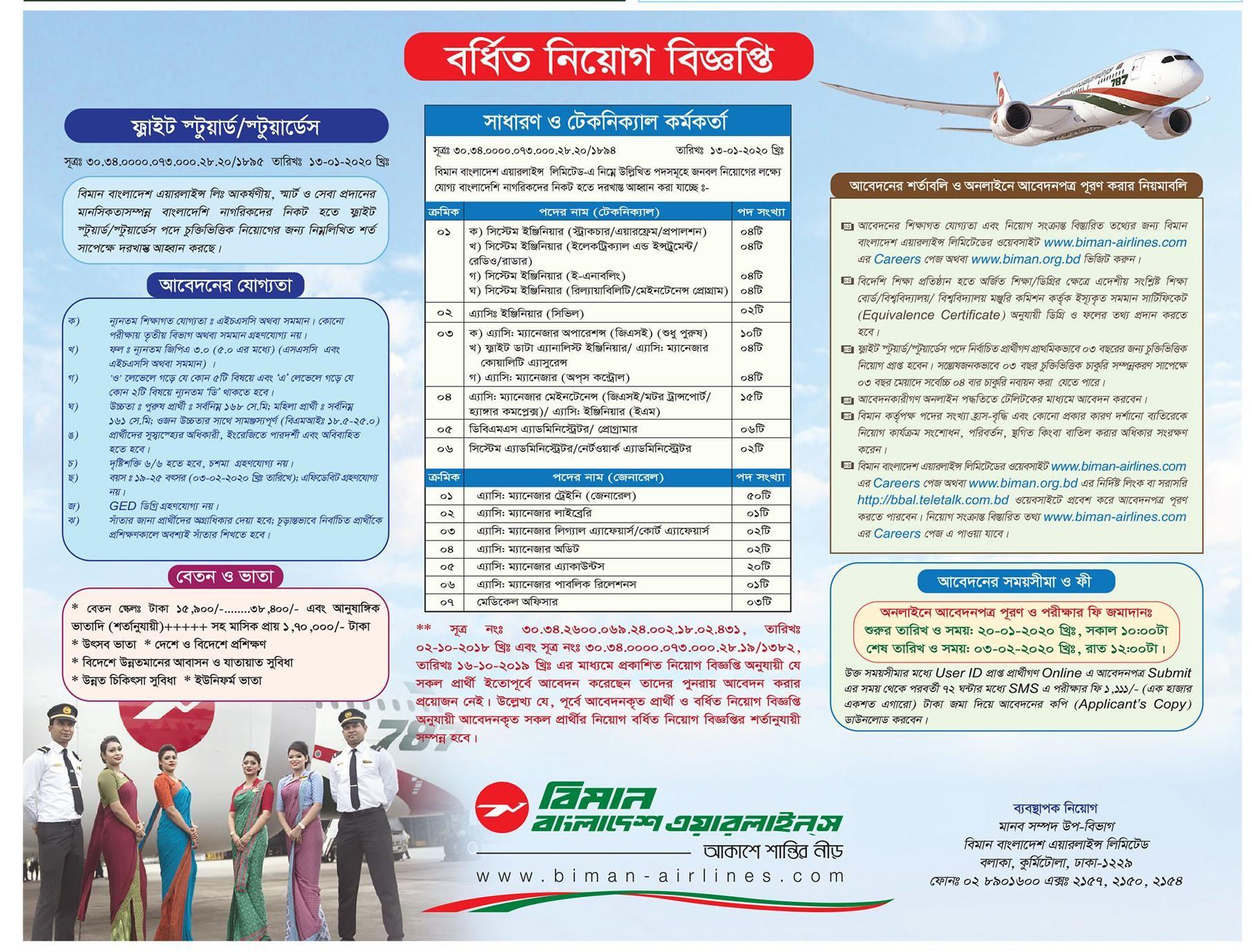 Biman Bangladesh Airlines Limited Job Circular 2020