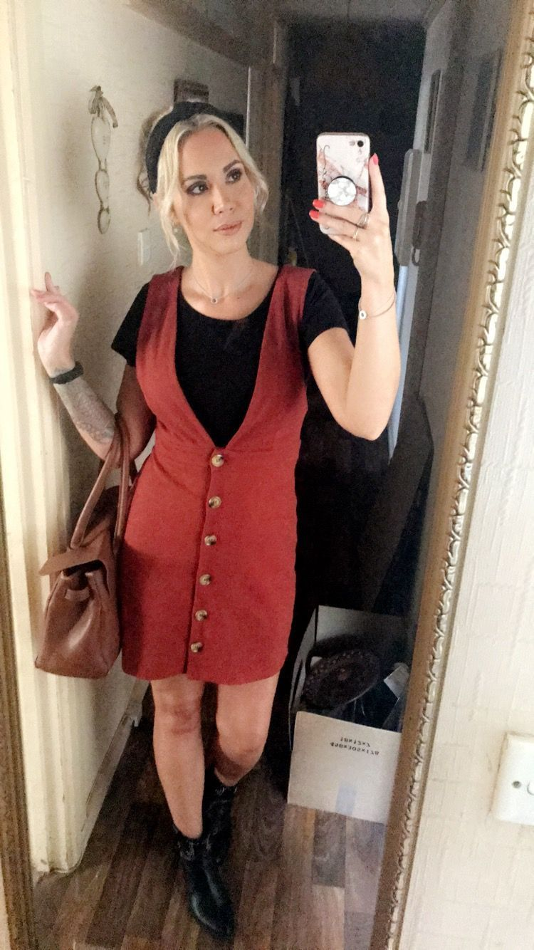 Pinafore dress  #mulberrybag Orange pinafore dress - Primark. Black t-shirt - Primark. Western ankle boots - Newlook. Tan Bayswater Mulberry bag. Knot headband - Primark. #mulberrybag Pinafore dress  #mulberrybag Orange pinafore dress - Primark. Black t-shirt - Primark. Western ankle boots - Newlook. Tan Bayswater Mulberry bag. Knot headband - Primark. #mulberrybag