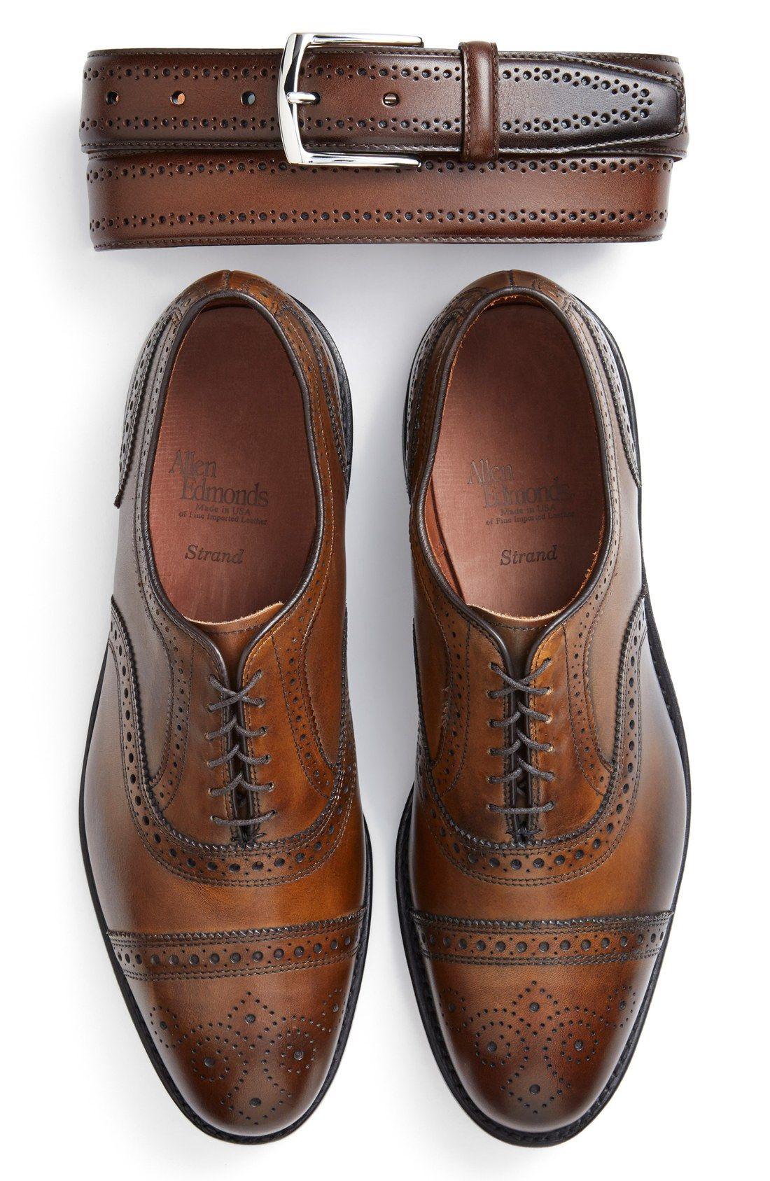 Allen Edmonds  Manistee  Brogue Leather Belt  ad8f4b70fa7