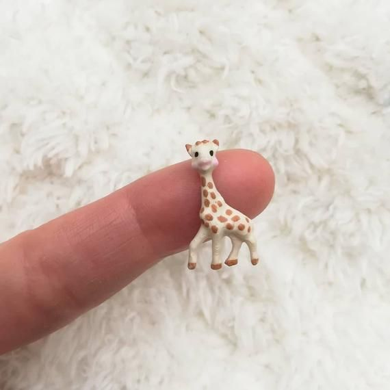 Miniature Dollhouse Toy Giraffe Blue Dots