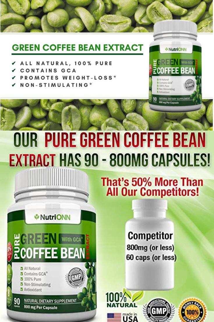 Green Coffee Bean Extract With Gca 800mg 90 Vegetariancapsules
