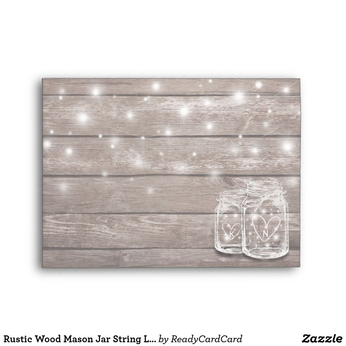 Rustic Wood Mason Jar String Lights Wedding Shower Envelope
