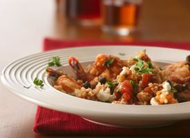 Mediterranean Shrimp with Bulgar