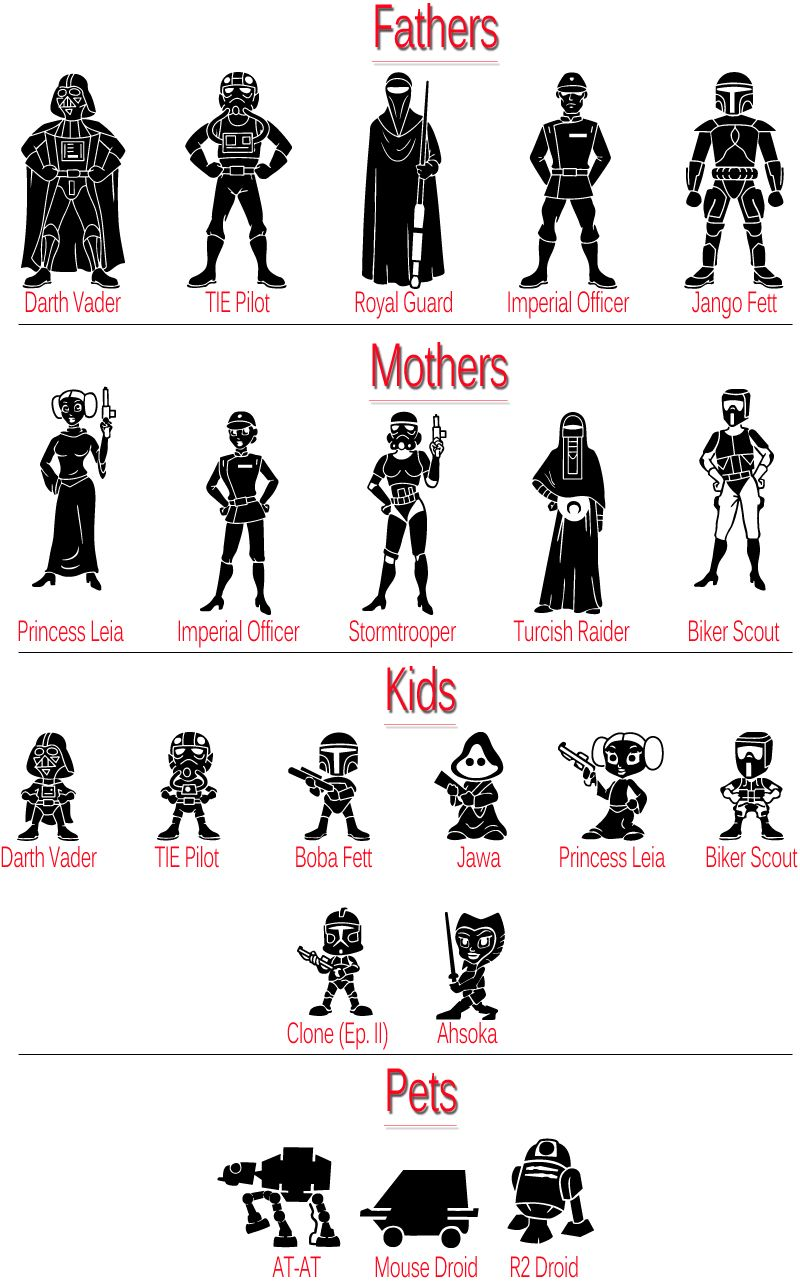 Decals And Stickers CUSTOM STAR WARS FAMILY STICKER FIGURE CAR - Owl family custom vinyl decals for car