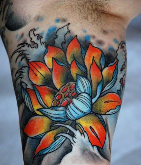 Inner Arm Bicep Mens Lotus Flower Tattoos Jpg 583 684 Tatuagem