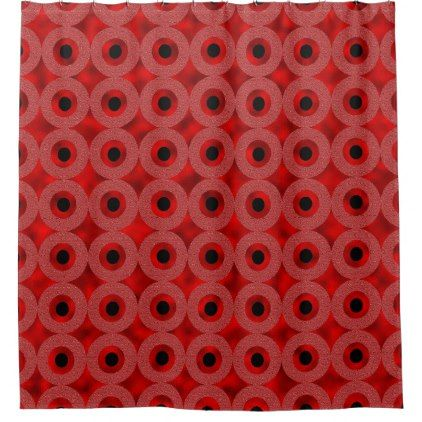 #Red Circles and Black Dots Shower Curtain - #Bathroom #Accessories #home #living