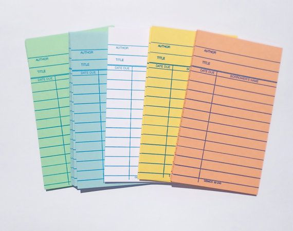 50 Library Book Cards Choose Your Color Perfect For Scrap Booking Craft