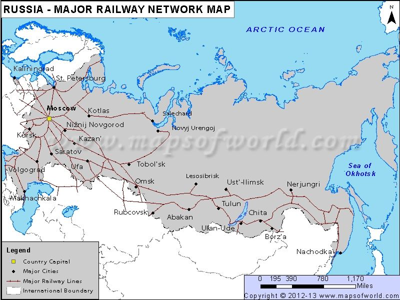 Russia Major Railway Network Map R travel Pinterest Russia - new world map blank with countries border