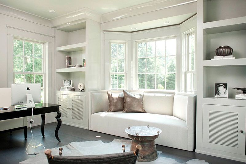 Hollywood Glamour   This Modern Home Office Is Sleek And Minimalist, All  White. The Custom Sofa / Couch Makes Excellent Use Of The Bay Window