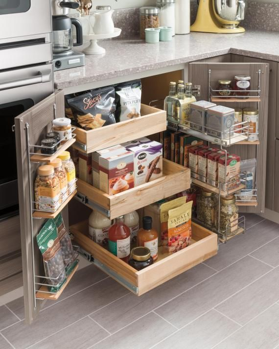 Investing in a SuperCabinet can be a game changer in kitchen organization. Rolling trays and wire pullouts put everything within reach, so you can get the most out of your cabinet space. Also, wire door racks keep smaller items right at hand.(Pictured: Gardner cabinetry and SuperCabinet from Martha Stewart Living, available at The Home Depot.)