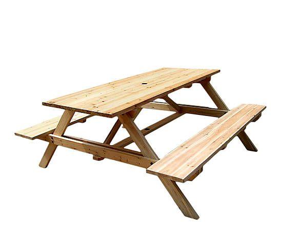 Mesa de picnic con bancos en madera de abeto                                                                                                                                                      Más