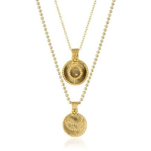 "Satya Jewelry ""Gold Sun and Moon"" Yellow Gold Pendant Necklace"
