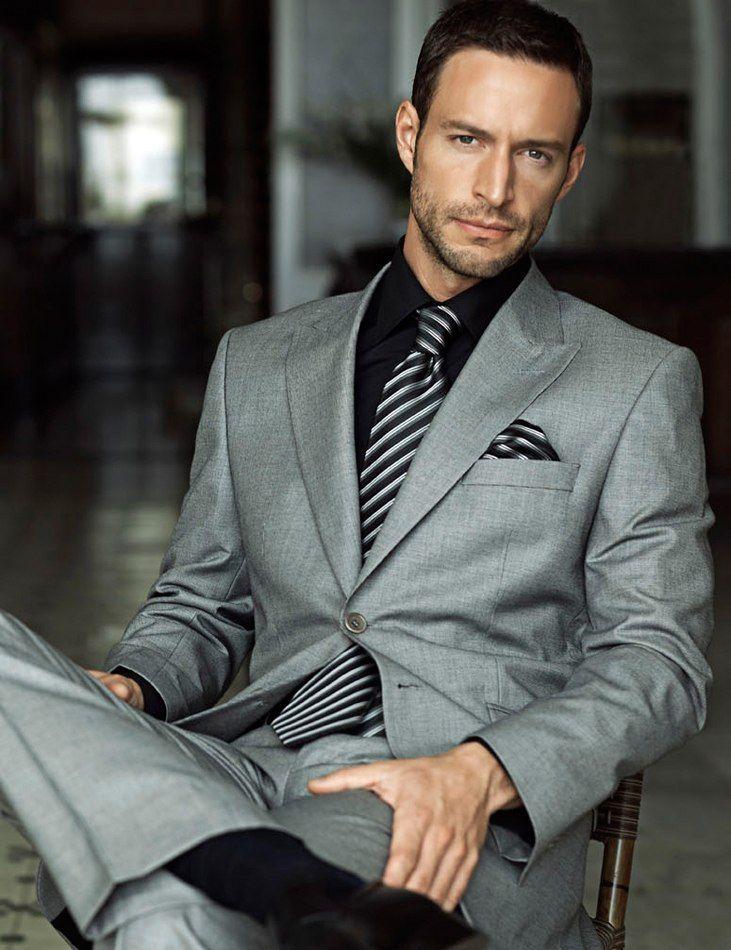 7f813d65944 Men's #Fashion: Men's Grey 2-piece Suit, Black Dress Shirt, Black Leather  Oxford Shoes, Black and White Vertical Striped Tie