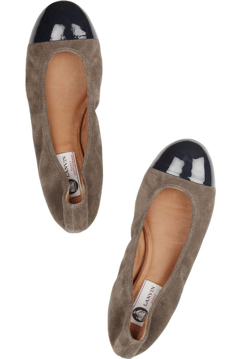 67e03e74550ec Lanvin   Patent leather-trimmed suede ballet flats   NET-A-PORTER.COM