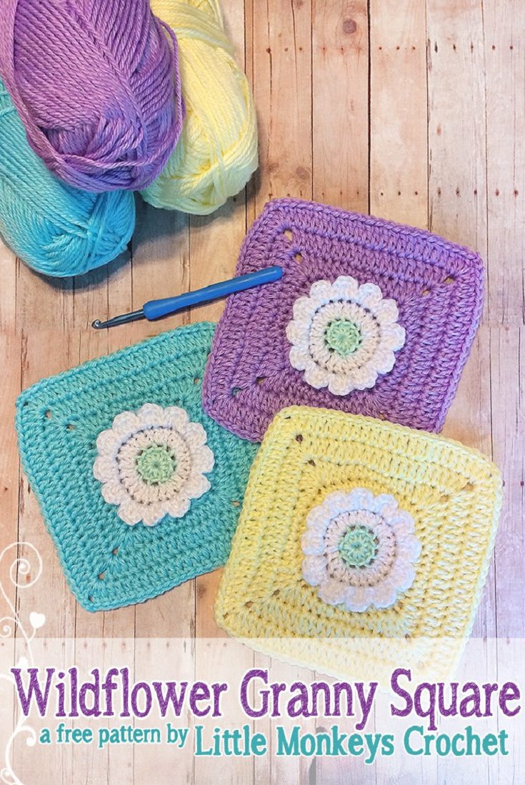 Wildflower Granny Square (free pattern!) | Cuadrados de abuelita y ...