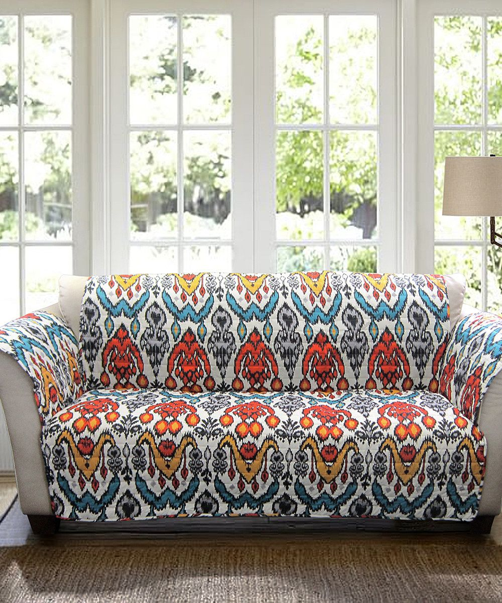 Look at this Turquoise & Rust Sofa Protector on #zulily today!