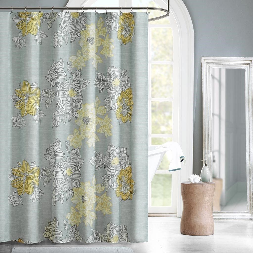 Soft Grey Yellow Floral Fabric Shower Curtain