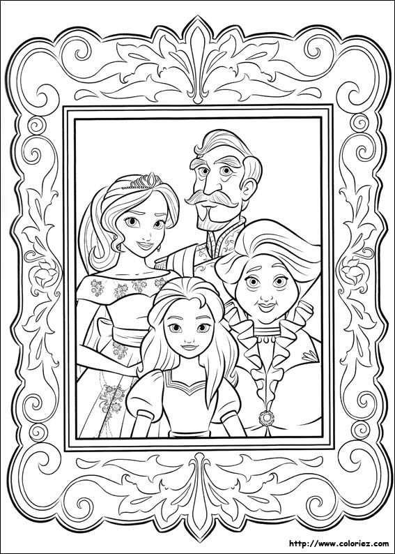 Princess Elena Of Avalor And Family Colouring Page