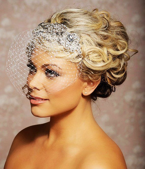 Wedding Hairstyles With Headpieces: Wedding Veil With Rhinestones Crystals