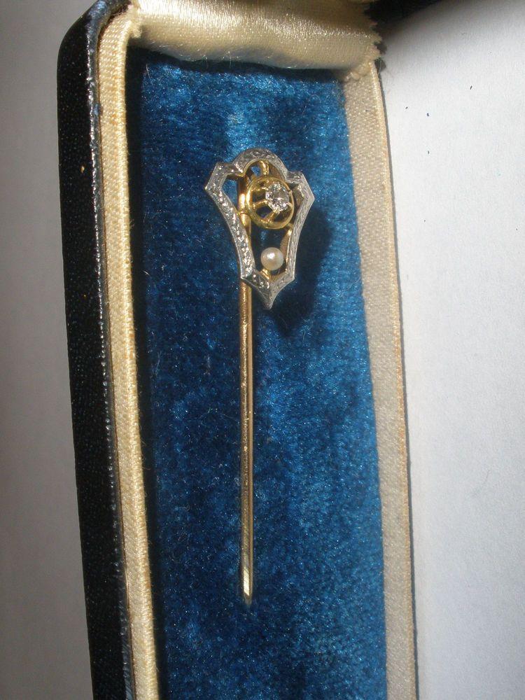 4f5cbe01674d Fine antique Victorian 14K yellow & white gold diamond pearl Stick Pin  stickpin