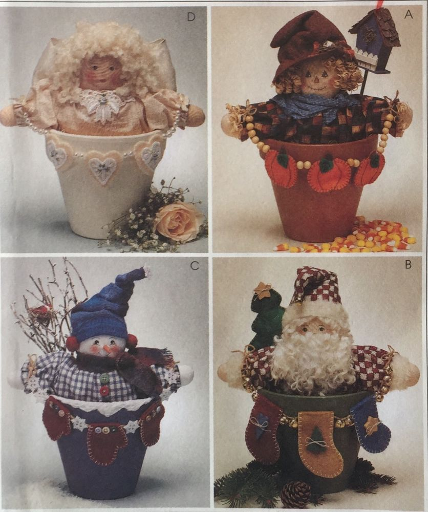 McCalls 9449 Holiday Craft Pattern Flower Pot People Santa Snowman Angel Harvest #McCalls