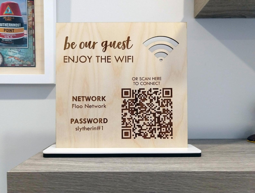 WOOD Wifi Password Sign / Personalized QR Code Wifi Network | Etsy in 2020  | Wifi password sign, Wifi sign, Personalized signs