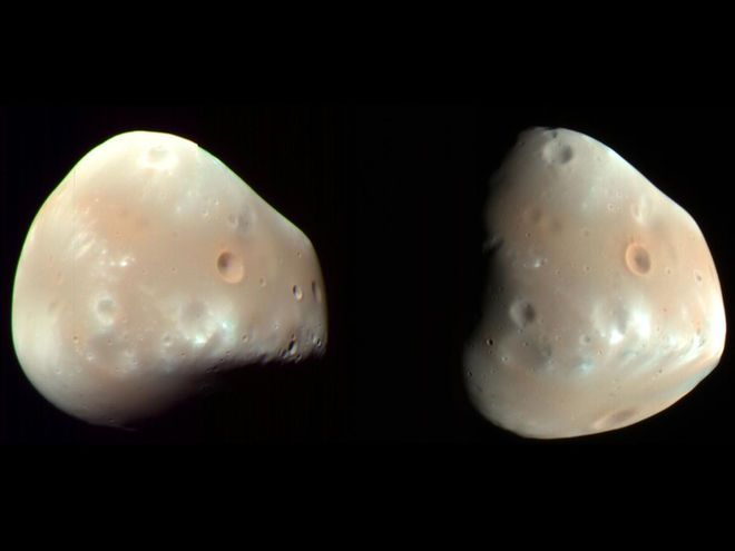 Deimos is the smaller and outer of the two natural ...
