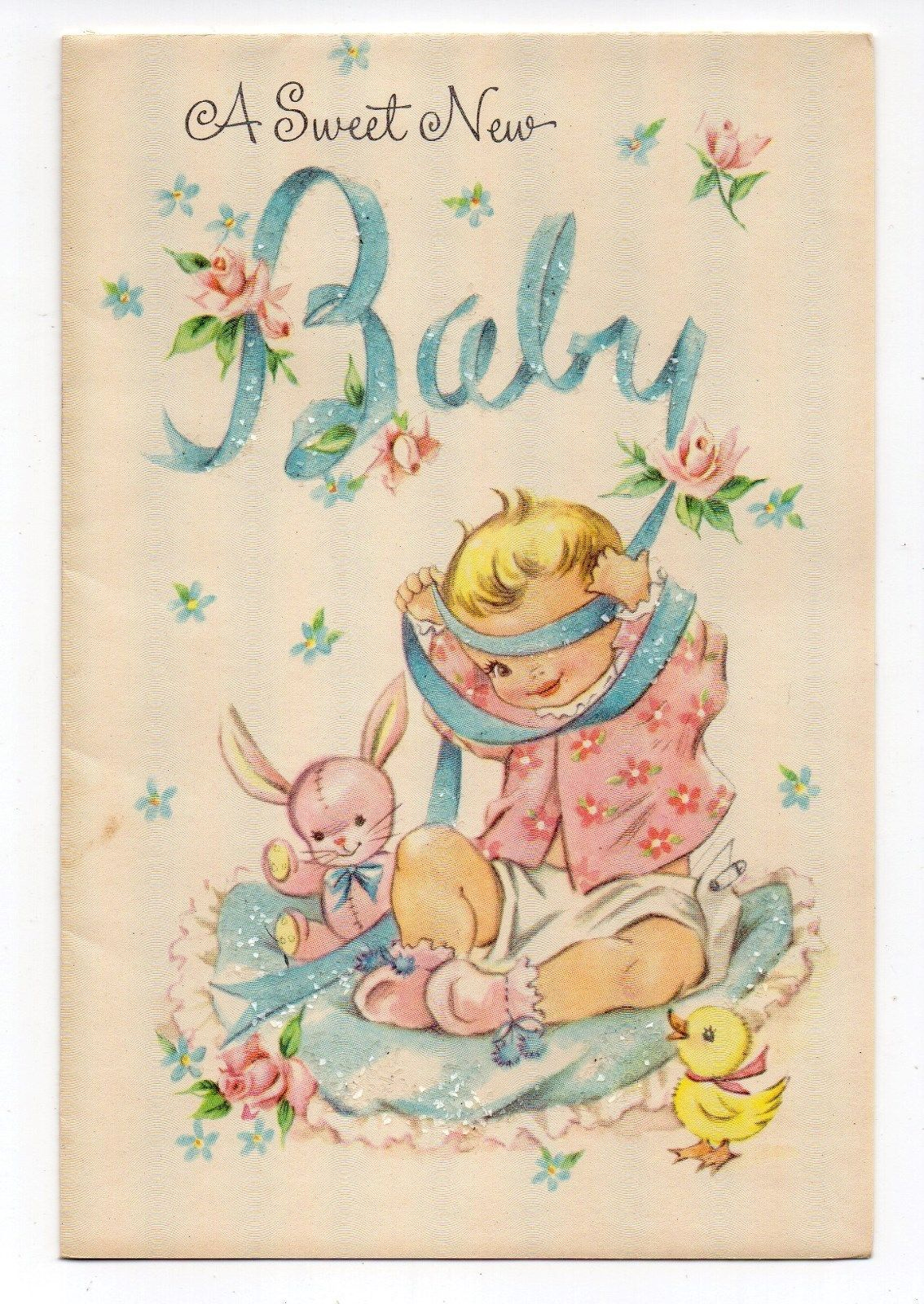 Vintage Coronation Unused New Baby Greeting Card Baby Girl Bunny