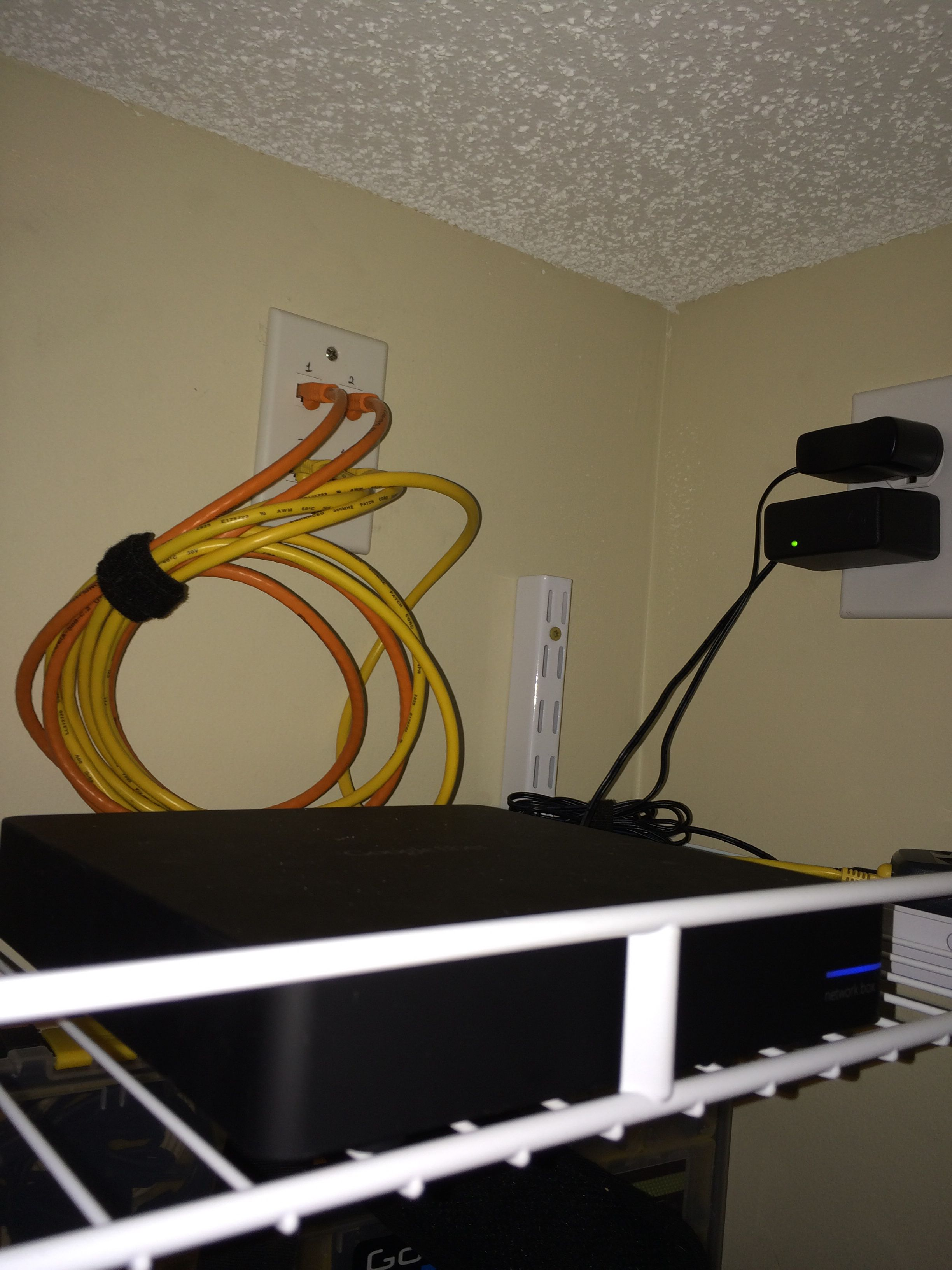 Our Google Fiber network box wifi router Its in the top of my