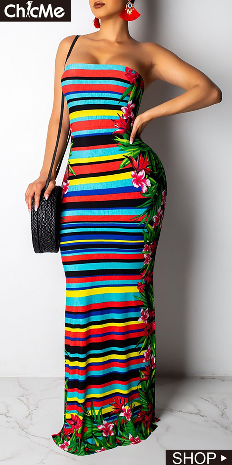 1514be50ac5a Backless Striped & Tropical Print Tube Maxi Dress | Chic Me Dress in ...