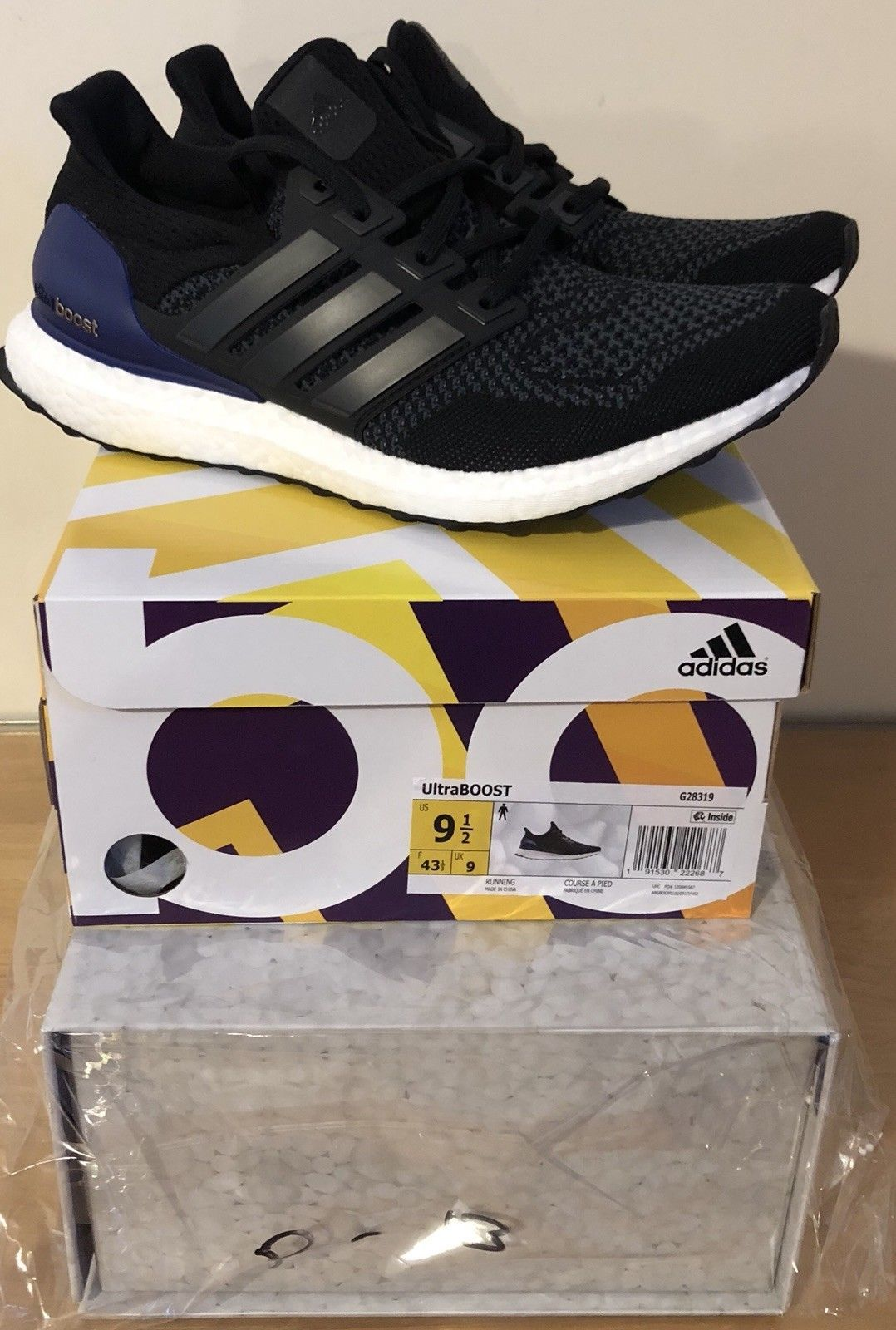 85d1f63c32290 2018 Adidas Ultra Boost OG Black Purple Size US Mens 9.5 G28319 WITH  SPECIAL BOX
